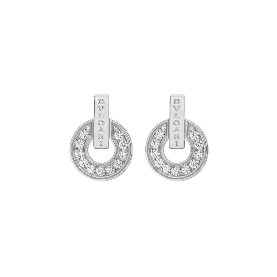 Orecchini BVLGARI BVLGARI gioielleria online Openwork in oro bianco 18 kt con pavé di diamanti