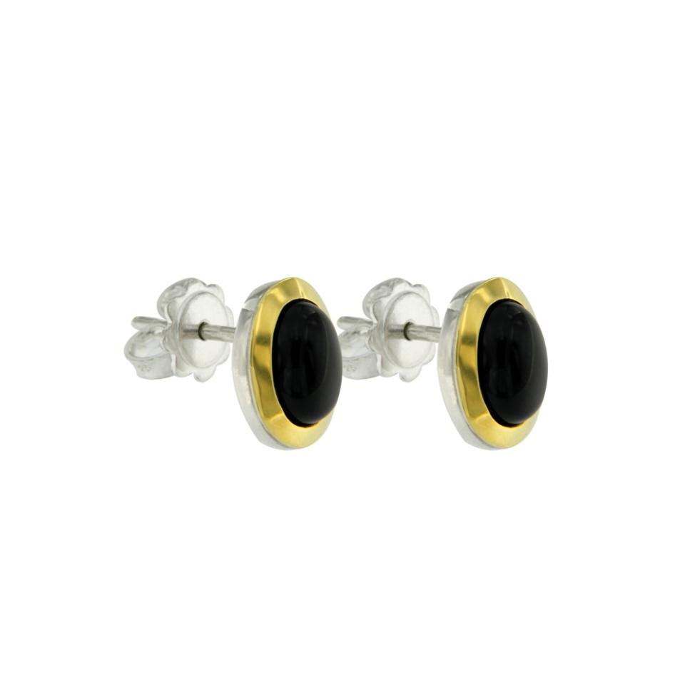 orecchini tubogas argento e onice nero ORT001on2