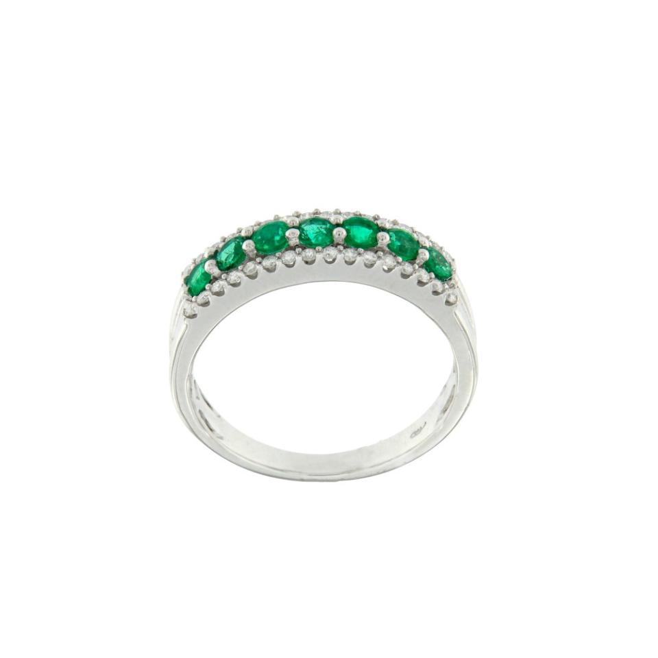 Anello bon ton smeraldi e diamanti