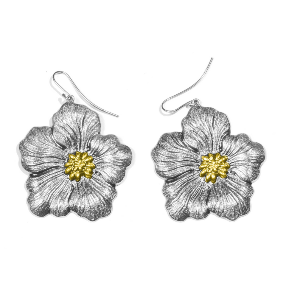 orecchini buccellati gardenia chiusura amo placcati oro grandi earrings silver blossom