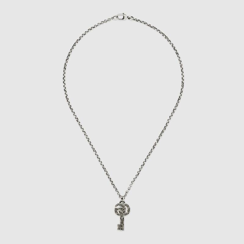 GUCCI Double G key SILVER necklace