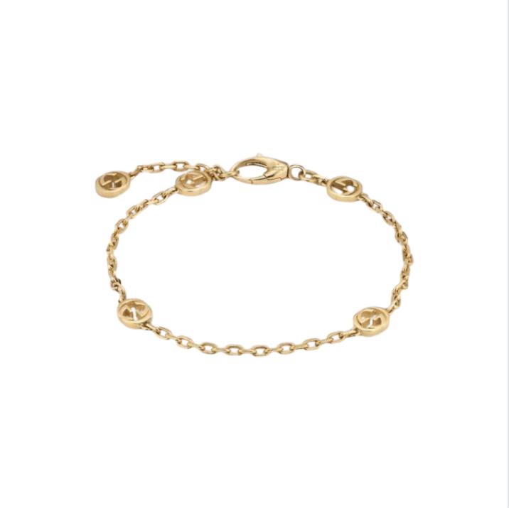 Bracciale Gucci INTERLOCKING 18 carati dettagli GG dettagli GG GUCCI BRACELET GOLD SCONTO DISCOUNT