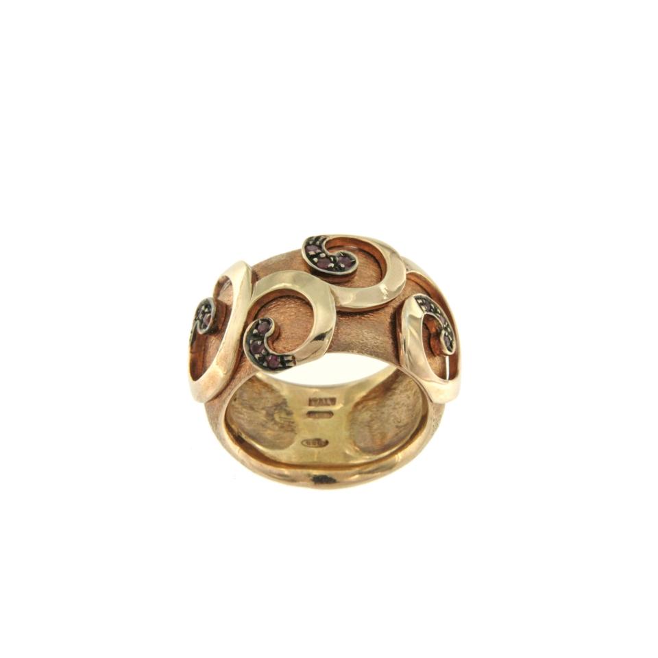 De Maria anello argento placato oro rosa rubini
