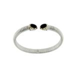 Bracciale Tubogas in argento 925 con finitura oro e onici bracelet silver