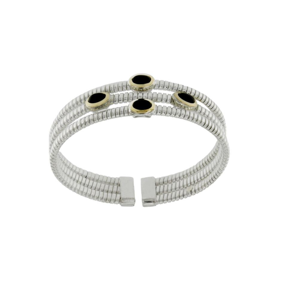 Bracciale Tubogas in argento 925 con finitura oro e onici silver bracelet
