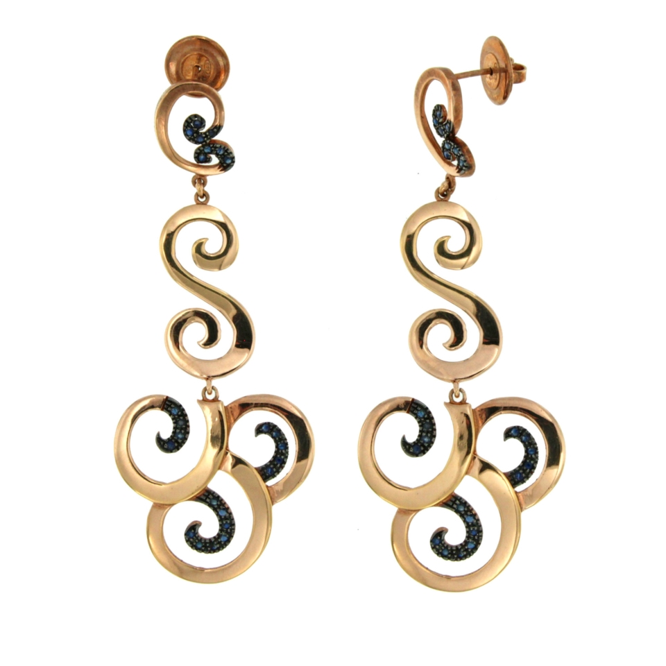 sapphires zaffiri silver pendant earring rose gold plated orecchini pendenti argento De Maria