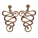 E7474 Silver earring orecchini serpenti in argento 925 placato oro rosa e rubini