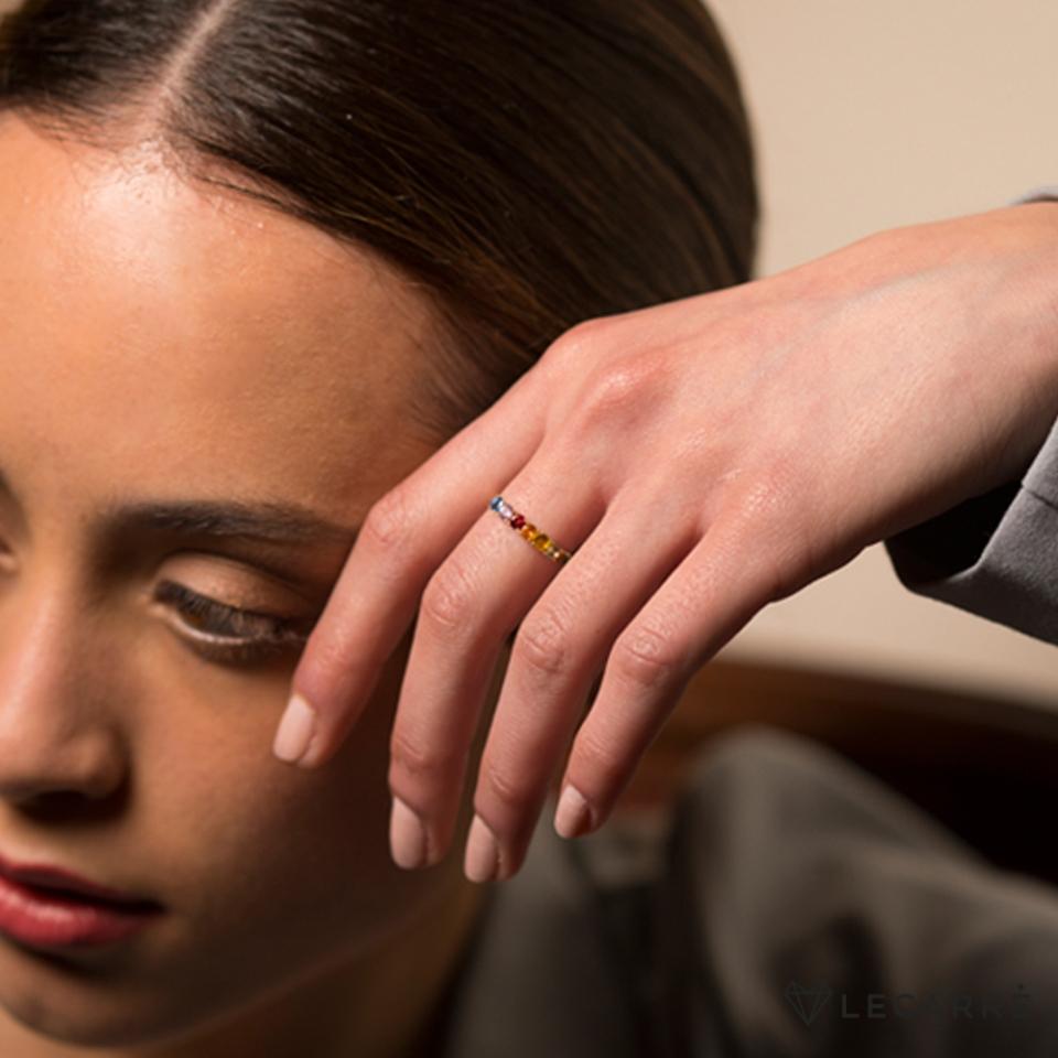 LE CARRÈ anello zaffiri multicolor