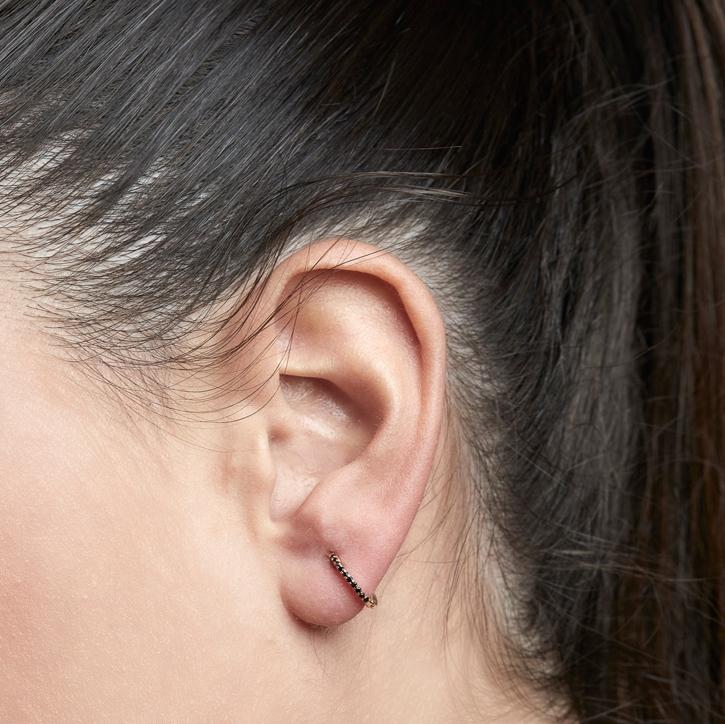 LE CARRÈ orecchini cerchietti oro rosa diamanti neri