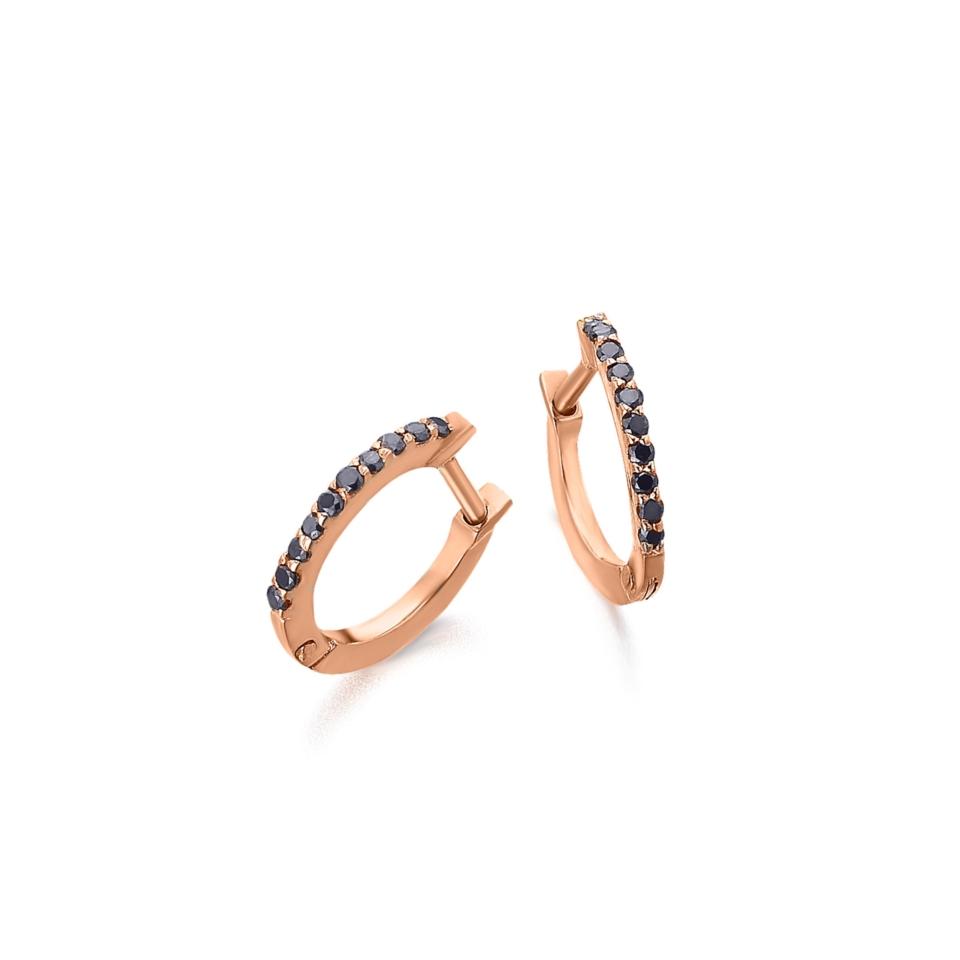 GB007ORBL orecchini al lobo oro rosa diamanti neri earrings black diamonds sconto discount