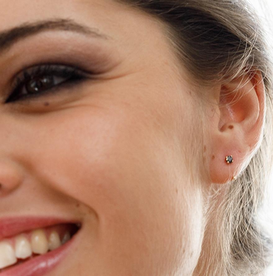 LE CARRÈ yellow gold earrings black spinels
