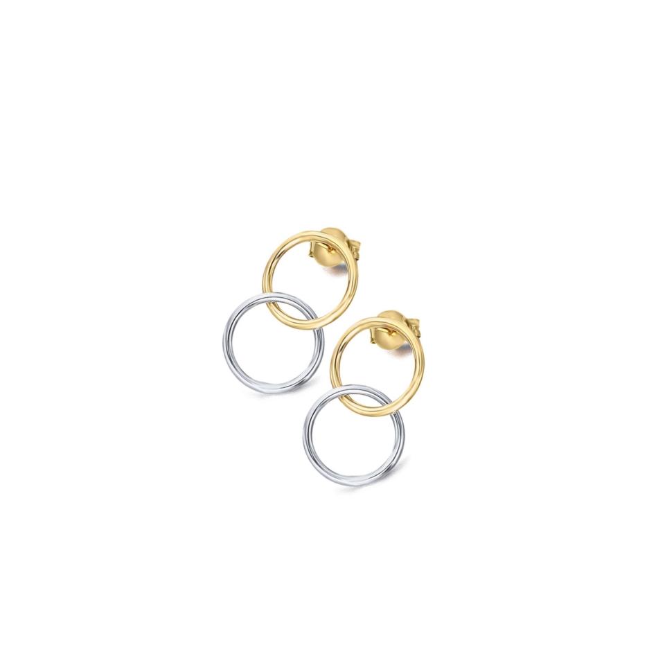 GB048OA orecchini cerchi intrecciati oro bicolore earrings round discount sconto