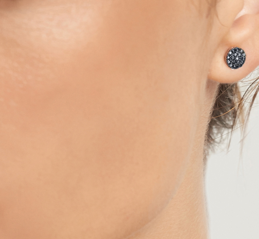 LE CARRÈ pink gold earrings with black diamonds