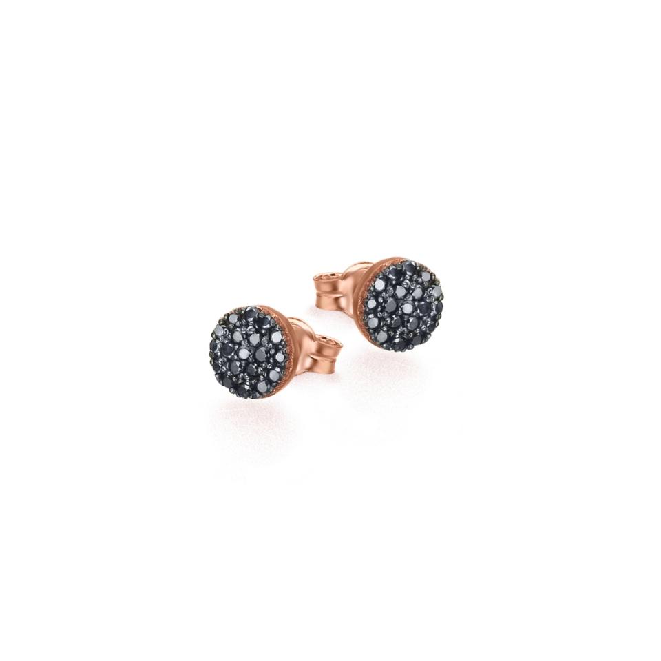 GB090ORBL orecchini oro rosa diamanti neri black diamond earrings discount sconto