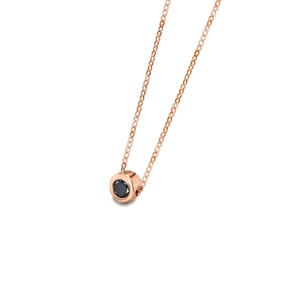 GD024ORBL collana or rosa diamante nero necklace black diamond rose gold discount sconto