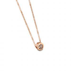 GD024ORBr collana or rosa diamante brown gold rose necklace diamond discount sconto