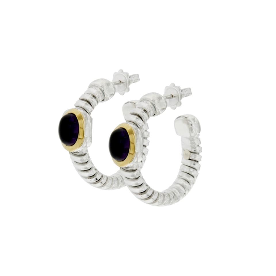 ORT002 orecchini tubogas cerchi in argento con finitura oro e onice