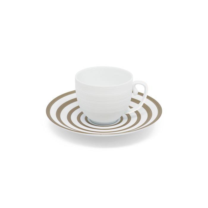 JL Coquet HEMISPHERE satin bianco – Set da caffè (tazza e piattino righe platino)