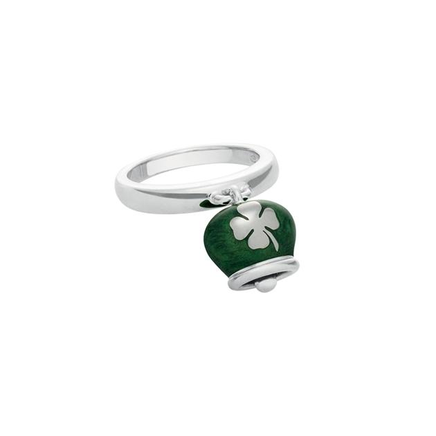 discount sconto Anello Et Voilà campanella double face, in argento e smalto verde quadrifoglio ring silver bell