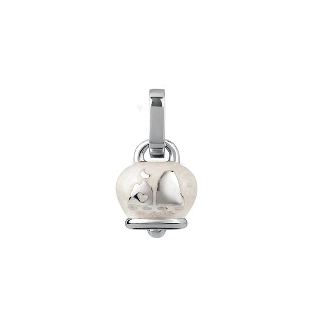 Ciondolo campanella micro double face in argento e smalto bianco perlato, con faraglioni chantecler bel pendant buy onlin sconto discount silver