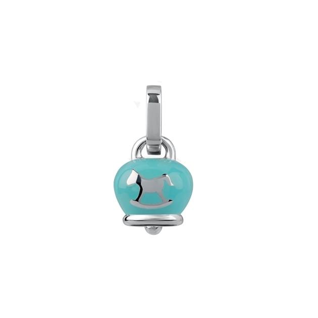 Chantecler Ciondolo campanella micro azzurro cavallino a dondolo discount silver bell charm rocking horse light blue sconto