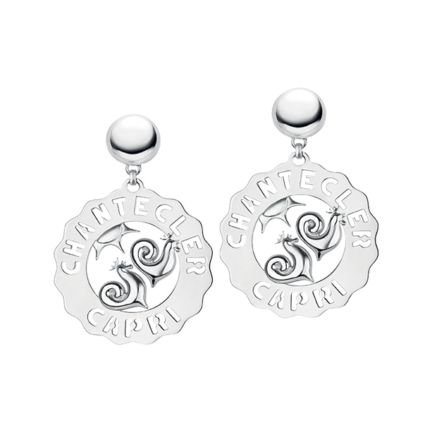 Chantecler Orecchini Logo in argento Galli e sole in argento silver earrings sconto discount 33700_11939